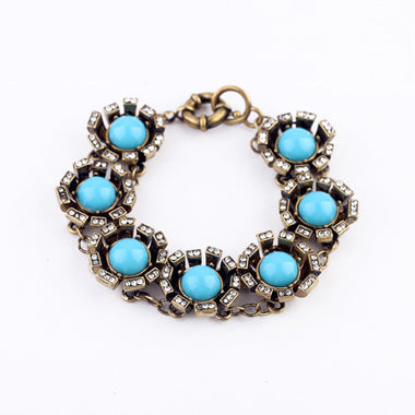 New Styles Fashion jewelry Blue Resin Metal friendship Bracelet For Women