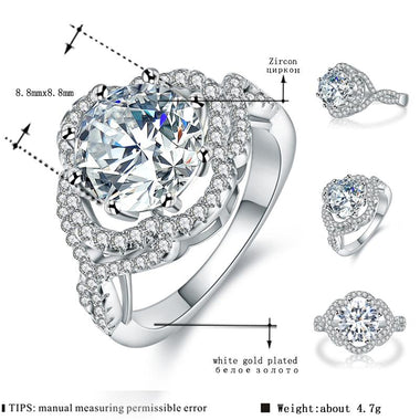 Women's White Gold Color Wedding Rings for Women AAA Zircon vintage Jewelry accessories Bague Bijoux Size 6 7 8 9 H347