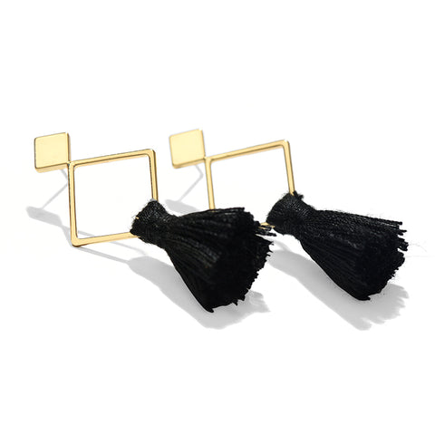 Image of Josie Bohemian Black Tassel Earrings