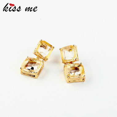 Fashion accessories square geometry crystal stud earring Factory Wholesale