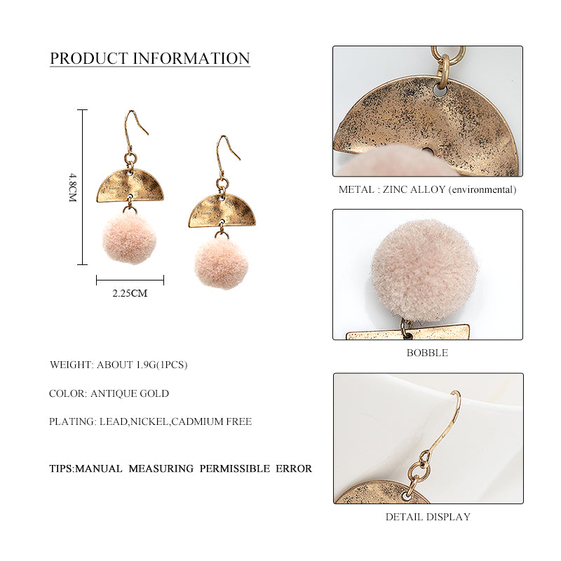 2017 Trendy Round Ball Drop & Dangle Earrings For Women Handmade Delicate Alloy Semicircle Pendant Pompons Earrings Jewelry Gift