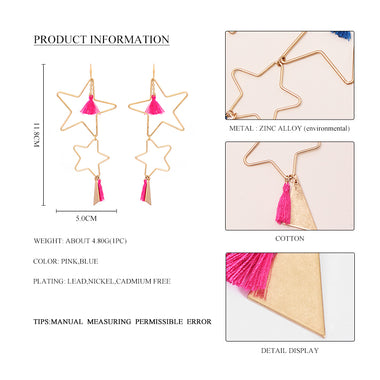 2017 New Bohemian Big Double Star Long Hanging Earrings Female Cute Pink Blue Tassels Statement Dangle Drop Earrings For Women