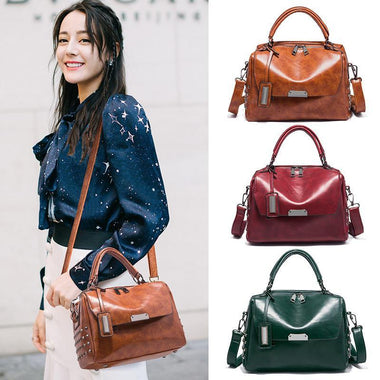 Blessing PU Leather Retro Shoulder Rivet Handbag