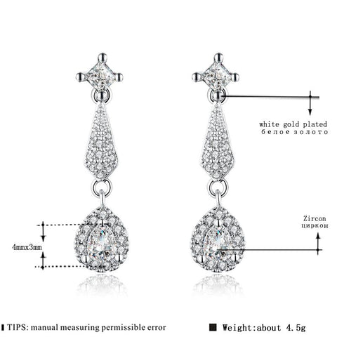 Image of Women's Stud Earrings for Women White Gold Color Jewelry Yellow AAA zircon Boucle D'oreille Feather Wedding cute Brincos A142