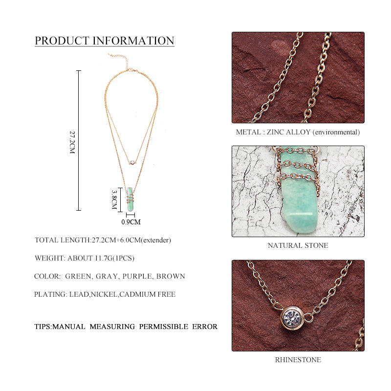 2017 Limited Maxi Necklace Collier Collares Women 2 Layer Chain Pendant Necklace With Stone Multilayer Collar For Jewelry