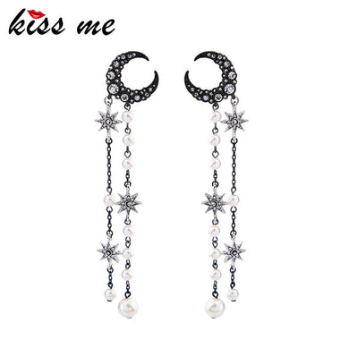 Personalized Crystal Imitation Pearls Star Moon Earrings 2017 Alloy Vintage Long Earrings Women Jewelry