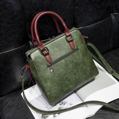 Saria Large Capacity Tassel Green Handbag