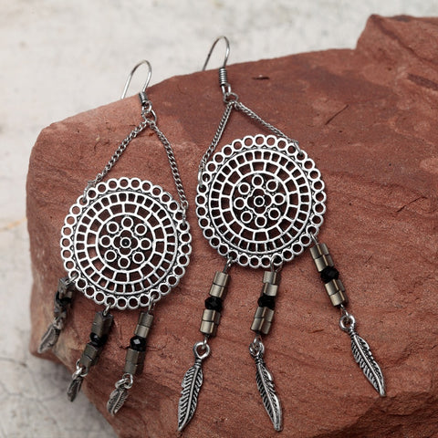 Bohemian Dream Catcher Pattern Tassel Earrings Fashion Jewelry For Women Antique Silver Alloy Leaf Pendant Long Hanging Earrings