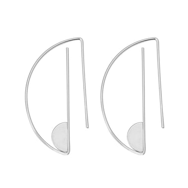 Women New Fashion Gold Silver Semicircle Drop Earrings Geometric Shape Copper High Quality Round Dangle Earrings Jewelry Gift