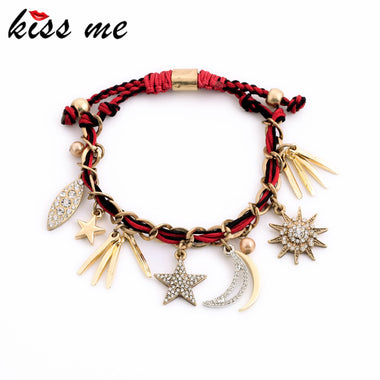 One Direction Bracelet 2017 New Design Rope Chian Sizable Gold Color Spike Star Moon Bracelets for Women