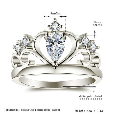 Image of Women's White Gold Color Women Wedding Love Rings AAA Zircon Engagement Jewelry Crown Femme Bijoux Accessories Size 5-12 H1028