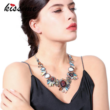 Colorful Synthetic/Natural Stone Geometric Flower Necklace Party Unique Choker Necklace Women Statement Jewelry