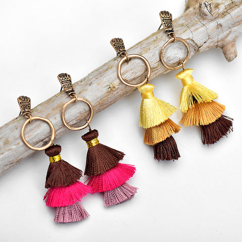 Image of Mindra Long Tassel Earrings