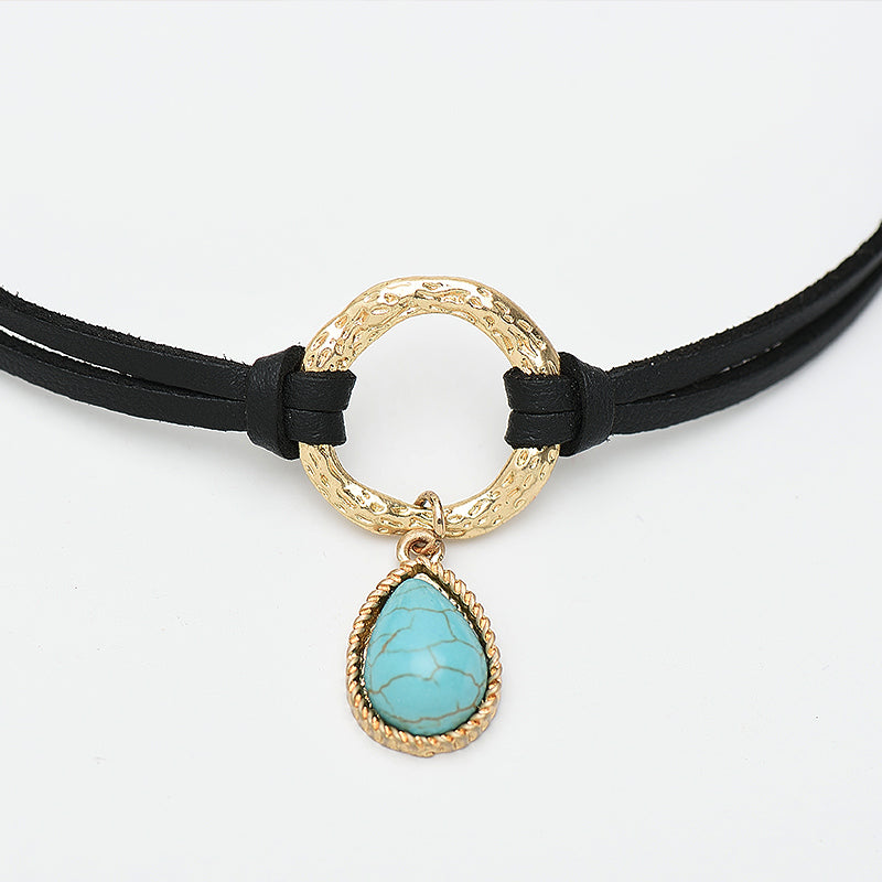 Boho Black Leather Double Layer Choker Necklace For Women Round Circle Connection Water Drop Blue Stone Choker Necklace Jewelry