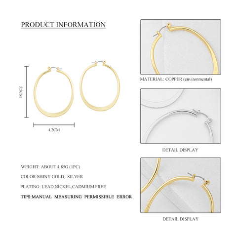 High Quality Big Round Hoop Earrings Classic Shiny Gold Silver European Hoop Earring Jewelry For Women Party Gift