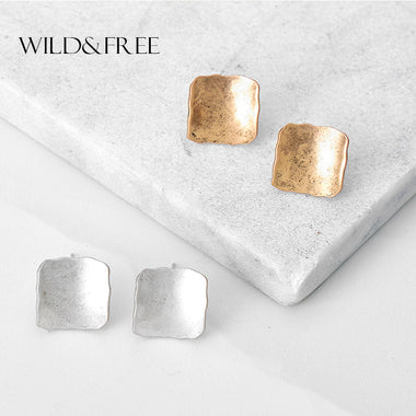 Women Antique Gold Silver Square Stud Earrings Vintage Zinc Alloy Simple Geometric Stud Earrings Jewelry Female Gift