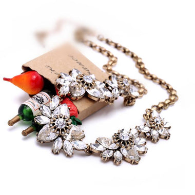 Women Vintage Jewelry Flower Crystal Necklace Party Dress Accessories Factory Wholesale