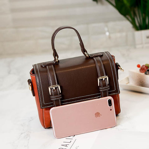 Image of Florence Paneled Vintage PU Leather Shoulder Handbag