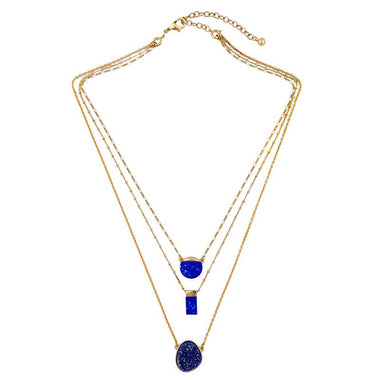 Blue Multi Layer Necklace Chic Removable Geometric Pendant Necklace Brand Jewelry Accessories