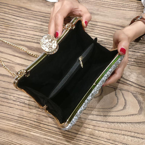 Image of Defne Black Satin Evening Clutch