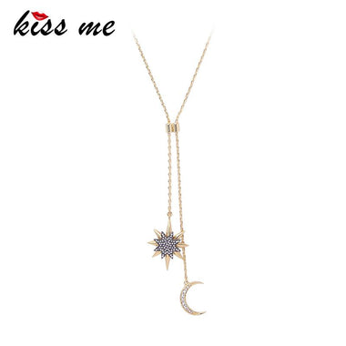 Gold Color Alloy Chain Crystal Star Moon Long Pendant Necklace 2018 Fashion Jewelry Women Bijoux