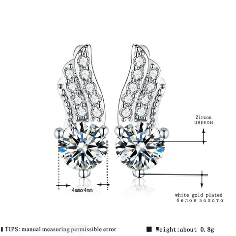 Women's Stud Earrings for Women White Gold Color Jewelry Clear AAA zircon Boucle D'oreille Feather Wedding feather Brincos A163
