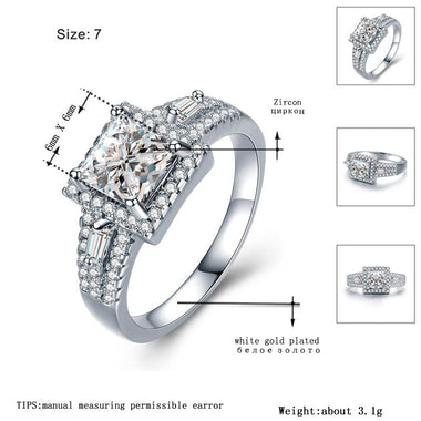Women's White Gold Color Rings for Women Engagement Wedding White Cute AAA Zircon Jewelry Bague Bijoux Size 6 7 8 H864