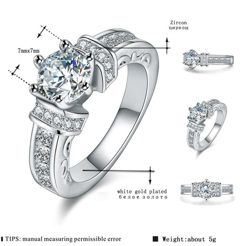 Women's White Gold Color Wedding Engagement Rings for Women AAA Zircon shining Jewelry accessories Bague Bijoux Size 5-12 H296