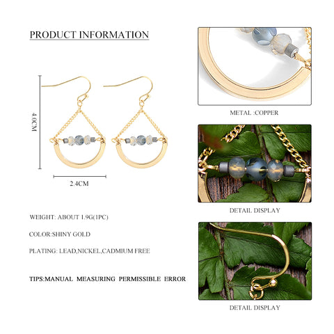 2017 New Arrival Semicircle Drop Earrings Geometric Shape Earring for Women Fresh Style Glass Beads Dangle Earrings Jewelry Gift