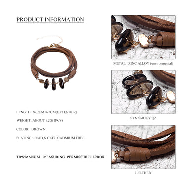 New Handmade Multi Layer Leather Bracelets for Women Fashion Jewelry Natural Stone Pendant Charm Wrap Bracelets & Bangles Femme