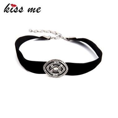 Chokers Wholesale New Popular Black Velvet Choker Necklace Rhinestone Geometric Women Jewelry