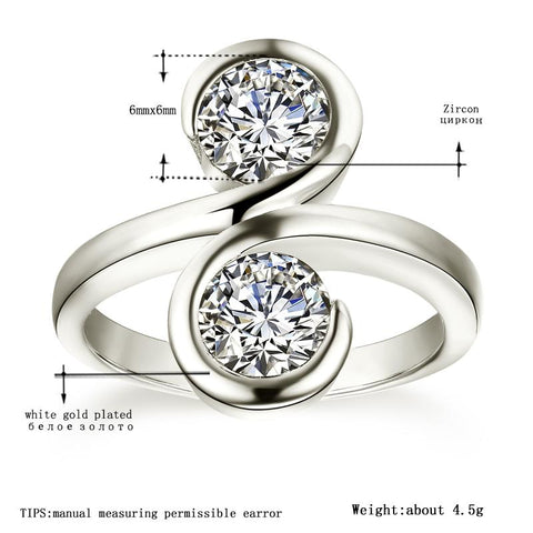 Image of Women's White Gold Color Wedding Rings Round AAA Zircon Engagement Jewelry for Women Engagement Bijoux Bague Size 5-12 H1099