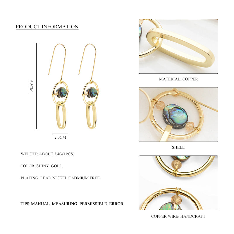 2017 Hot Stylish Gold Color Geometric Earrings Jewelry With Shell Alloy Hollow Circle Big Hook Statement Dangle Drop Earrings