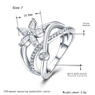 Women's White Gold-Color Wedding Rings for Women Hollow Fashion AAA Zircon Jewelry Party Engagement Bague Size 6 7 8 MSR416