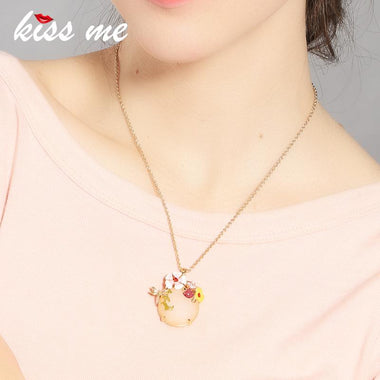 Korean Style Ms Contracted Acrylic Round Pendants Thin Chain Necklace Factory Wholesale