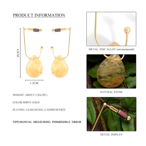Fashion New Yellow Crystal Drop Earrings Gold Color Alloy Ball Geometric Dangle Earrings For Women Jewelry Boho Style Brincos