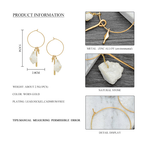 Image of Mintuu  Geometric Pendant Hoop Earrings