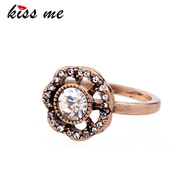 Personalized Crystal Flower Ring Female Antique Gold Color Vintage Rings for Women Fashion Jewelry