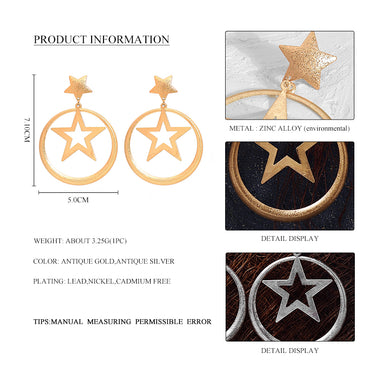 Wild&Free New Fashion Statement Star Drop Earrings For Women Simple Gold Color Big Round Hollow Dangle Earring Jewelry Wholesale
