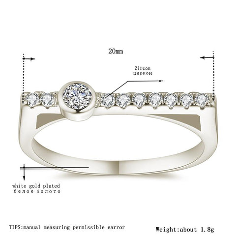 Women's White Gold Color Rings for Women Wedding Geometric Clear AAA Zircon Trendy Romantic Jewelry Bague Bijoux Size 5-12 R1143