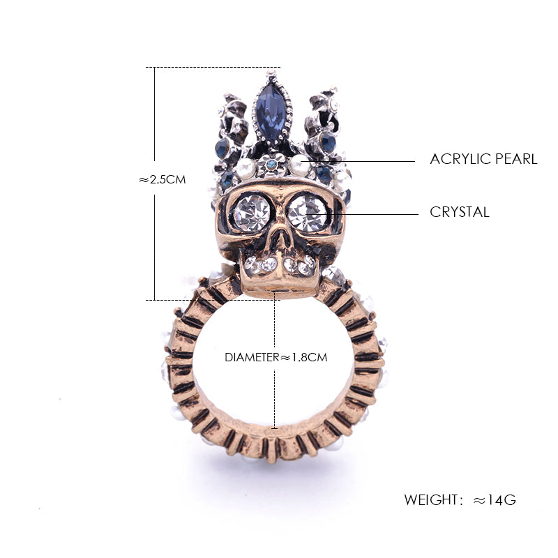 041fb390f0b2e3 KISS ME Antique Gold and Silver Color Skull Rings for Women New Alloy  Vintage Finger Ring