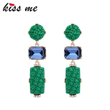 Green & Red Alloy Resin Florals Drop Earrings 2017 Women Long Earrings Summer Party Jewelry