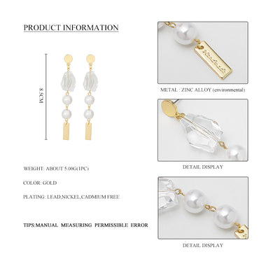 Wild&Free Summer Big Natural Stone Earring Long korean Pearl Earrings Fashion Jewelry High Quality Gold Copper Party Jewelry