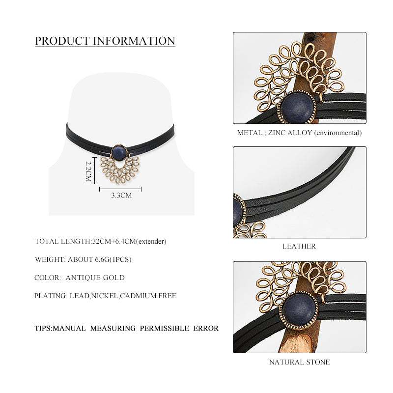 2017 Top Fashion Collares Maxi Necklace Collier Women Trendy 3 Layers Leather Choker Necklace Antique Hollow Out Flower Jewelry