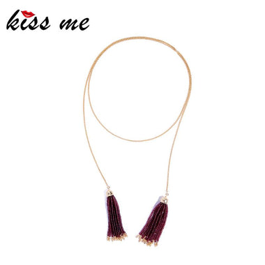 Gold Color Chain Long Necklace 2018 Popular Red & White Beads Tassel Necklaces & Pendants Women Jewelry