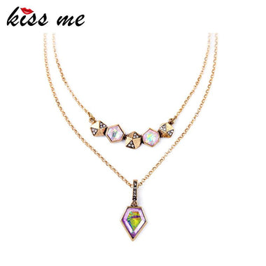 Retro Rhombus Multicolor Imitation Gems Concise Style Female Pendant Necklace Factory Wholesale