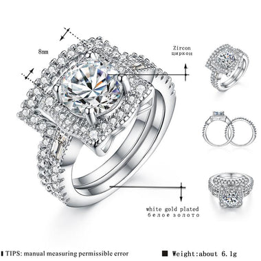 Women's White Gold Color Wedding Ring sets for Women AAA Engagement Jewelry for Bague Bijoux Accessories Size 6 7 8 9 H219