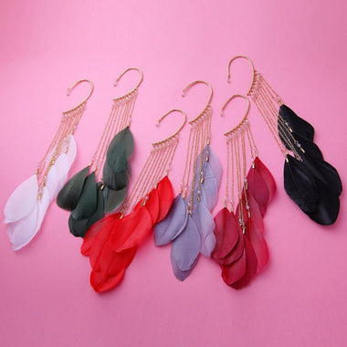 6 Colors Natural Feather Earrings Unique Single Long Alloy Chain Tassel Drop Earrings for Women Fashion Jewelry