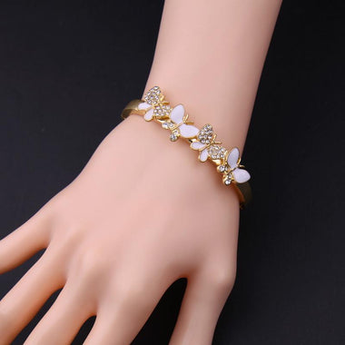 Brand Crystal Enamel Butterfly Bracelets & Bangles Women Fashion Jewelry New Cuff Bracelet