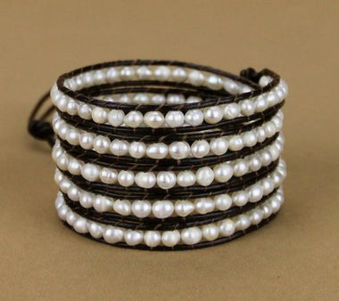 Yagmur Pearl Leather Wrap Bracelet Bracelet